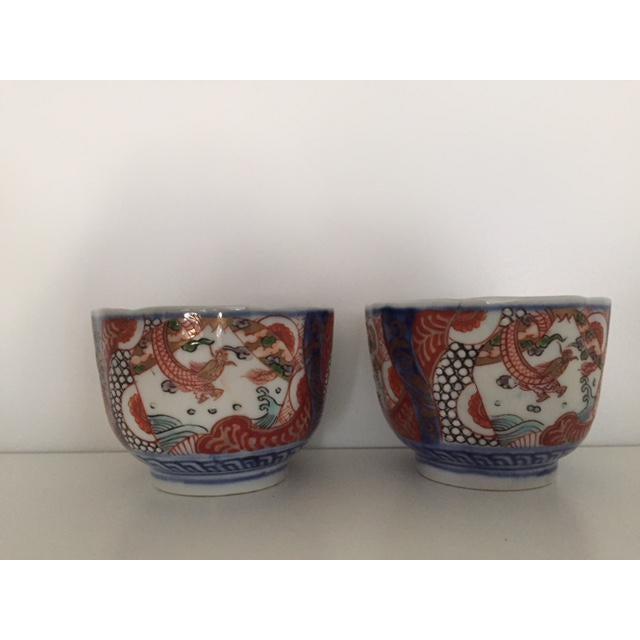 Ceramic Antique Japanese Imari Porcelain Colored Tea Cups - a Pair For Sale - Image 7 of 7