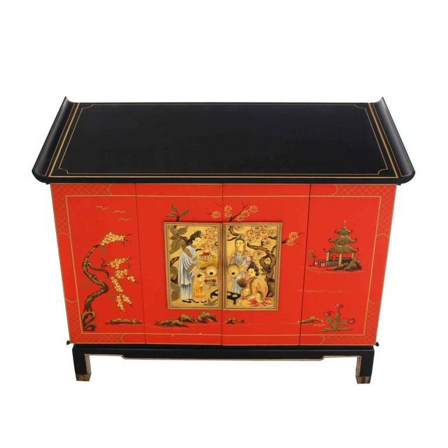 Red Asian Black and Red Lacquer 2-Tone Cabinet Bachelor Chest For Sale - Image 8 of 11