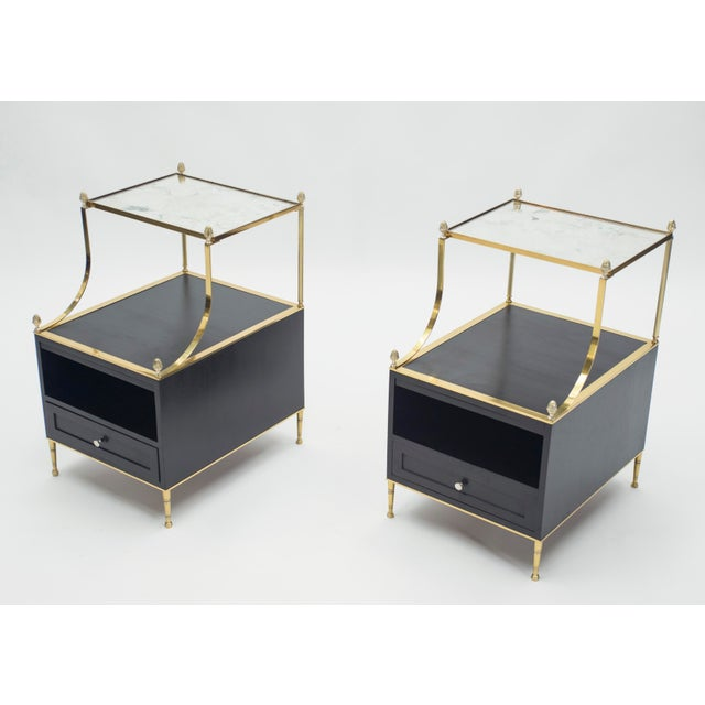 1950s Rare Pair of French Maison Charles Brass Mirrored End Tables 1950s For Sale - Image 5 of 13