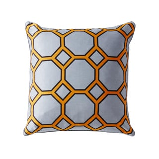 Onslow Grey & Orange Patterned Silk Pillow For Sale