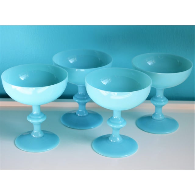 French Portieux Vallerysthal French Blue Opaline Champagne Coupes- Set of 4 For Sale - Image 3 of 11