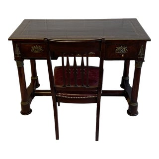 19th Century Antique French Mahogany Desk With Elaborate Bronze Details and Matching Chair - 2 Pieces For Sale