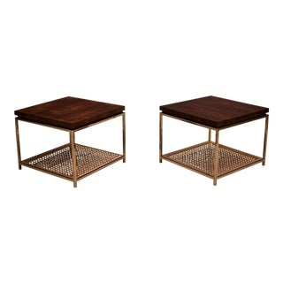 Mid Century Modern Rosewood and Chrome Side Tables - a Pair