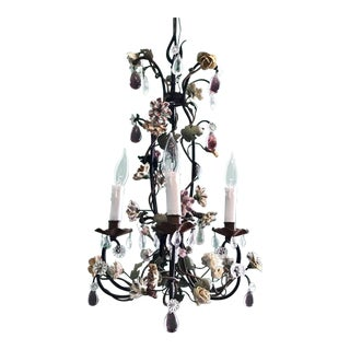 French Tole Chandelier with Porcelain Flowers, Mid-19th Century For Sale