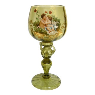 Antique Hand Painted Blown Glass Loving Chalice For Sale
