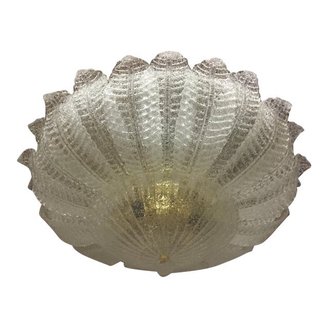 Vintage Murano Glass Flush Mount Chandelier For Sale