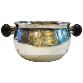 Georg Jensen, Sterling Silver Sugar Bowl With Ebony Handles, Circa 1935 For Sale