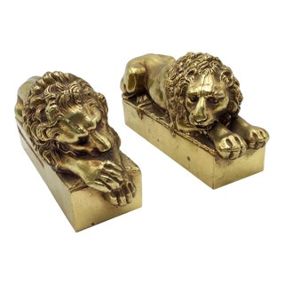 1940s Hollywood Regency Bronze Lion Bookends - a Pair For Sale
