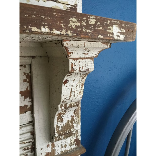 Early 20th Century Antique Shabby Chic Wooden Mantel with Shelf For Sale - Image 5 of 11