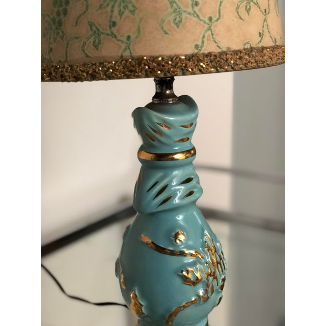 Mid Century Turquoise and Gold Table Lamp With Original Floral Shade For Sale In Atlanta - Image 6 of 8
