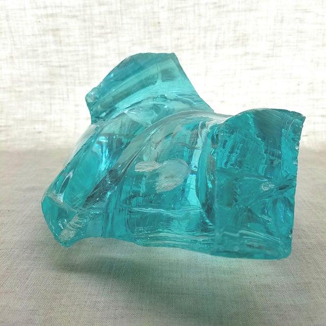 Turquoise Aqua Slag Glass Sculpture For Sale - Image 8 of 9