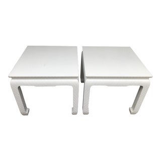Mid 20th Century Baker Furniture Raffia-Wrapped Lacquered Side Tables - a Pair For Sale