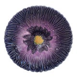Image of French Majolica Purple Daisy Plate Orchies Circa 1890 For Sale