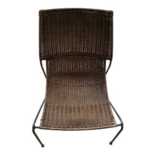 Vintage Wicker and Iron Sculptural Chair For Sale
