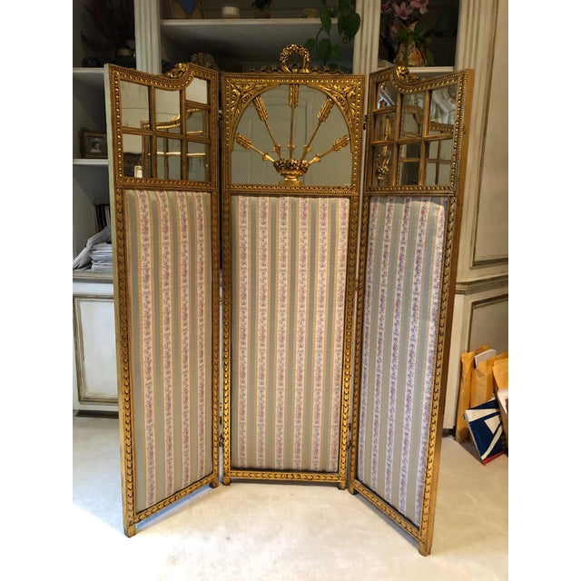 French Neoclassical Revival Giltwood Mirror and Upholstered 3-Panel Screen For Sale - Image 13 of 13