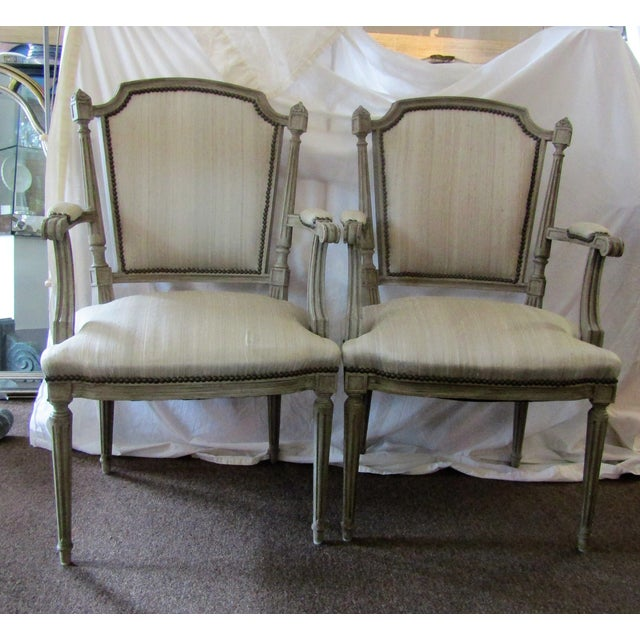 Gray Carved Wood Side Chairs - A Pair - Image 2 of 3
