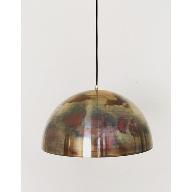 Dome shaped patinated copper pendant from Germany 1960s. Rewired for USA socket. With 3 lightbulb sockets. Cable length is...