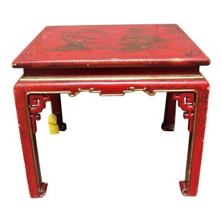 Red Lacquered Chinoiserie Table For Sale
