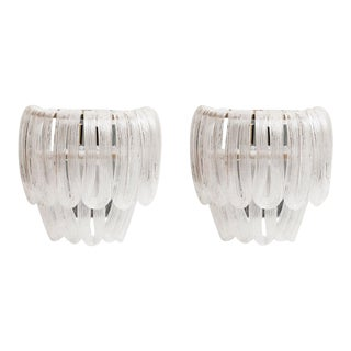 Italian Glass Ribbon Nickel Frame Sconces - a Pair For Sale