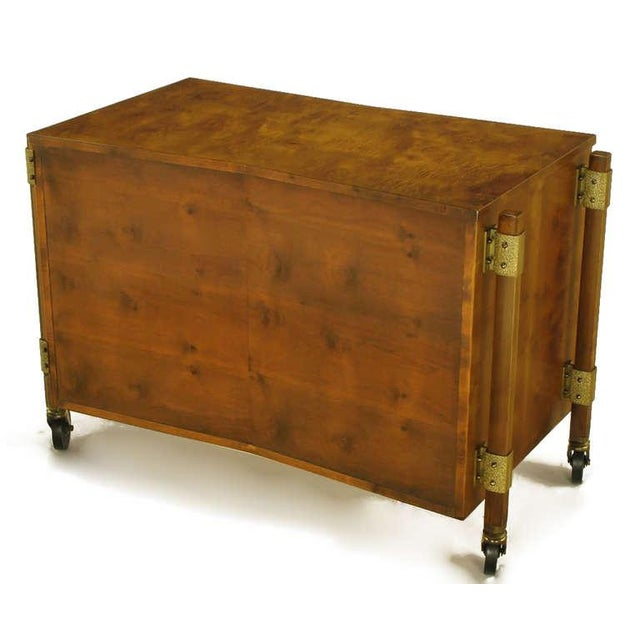 Harold Schwartz Burled Walnut Farfalla-Form Rolling Bar Cart For Sale - Image 9 of 11