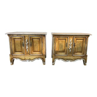 Vintage French Style Hollywood Regency Gold Gilt Chests or Nightstands - a Pair For Sale