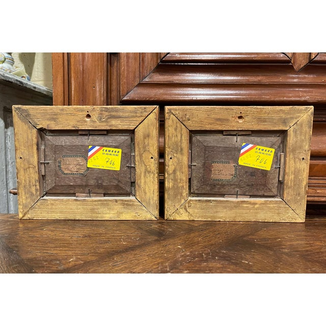 Gold 19th Century French Oil on Board Paintings in Carved Gilt Frames - a Pair For Sale - Image 8 of 9
