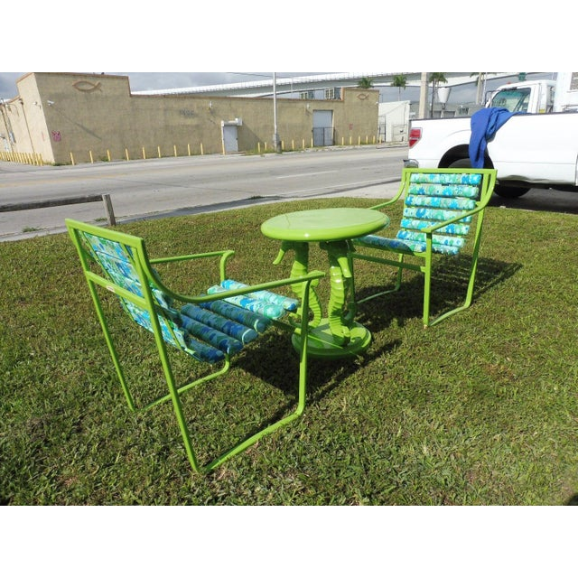 Fabric 60's Vintage Samsonite Wrought Iron Patio Set For Sale - Image 7 of 12