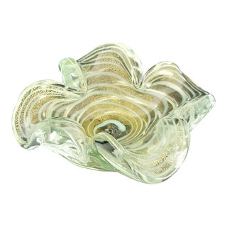 Murano Gold and Light Blue Spiral Glass Bowl - Venetian 1950s For Sale