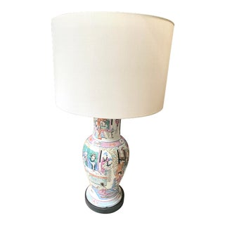 19th Century Chinese Vase Two-Light Lamp For Sale
