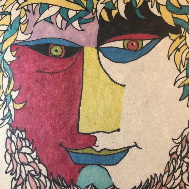 Pop Art Original Vintage Colored Felt Marker Pop Art Portrait Drawing 1970's For Sale - Image 3 of 5