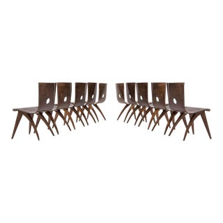 Vintage Van Os Bent Plywood Walnut Dining Chairs - Set of 8 For Sale
