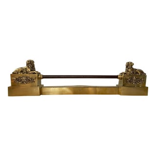 19th Century French Brass Fireplace Fender For Sale
