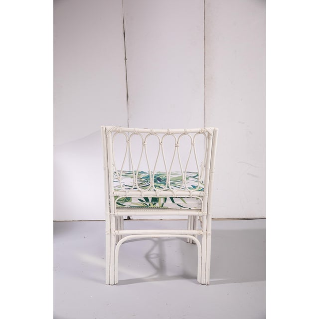 Cottage 1950s Vintage White Rattan Armchair For Sale - Image 3 of 13