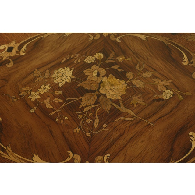 French Vintage 1920s Highly Inlaid French Louis XV Games Table For Sale - Image 3 of 13