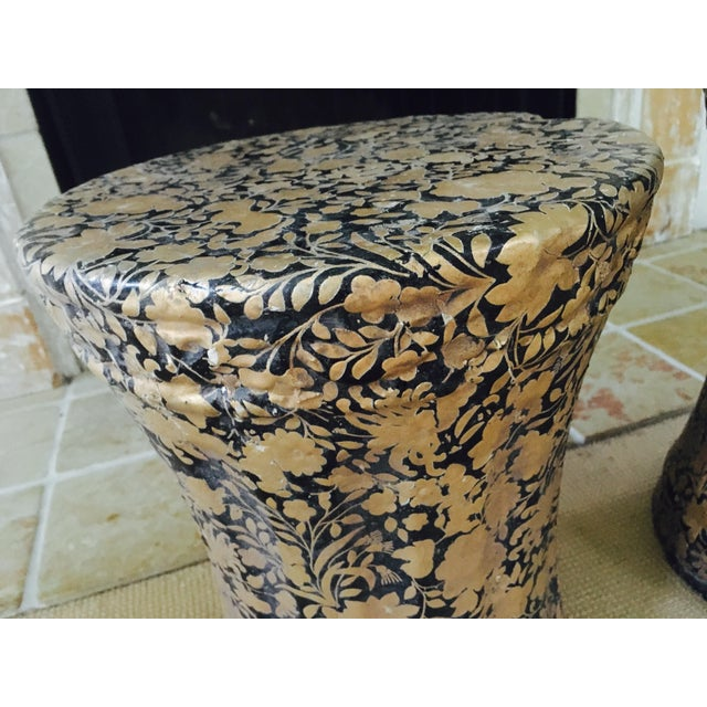 Gold and Black Pedestal Side Tables - A Pair - Image 5 of 8