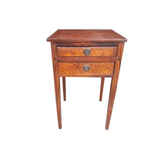 Antique Quarter Sawn Rustic Country Oak 2 Drawer Work Table / Night Stand