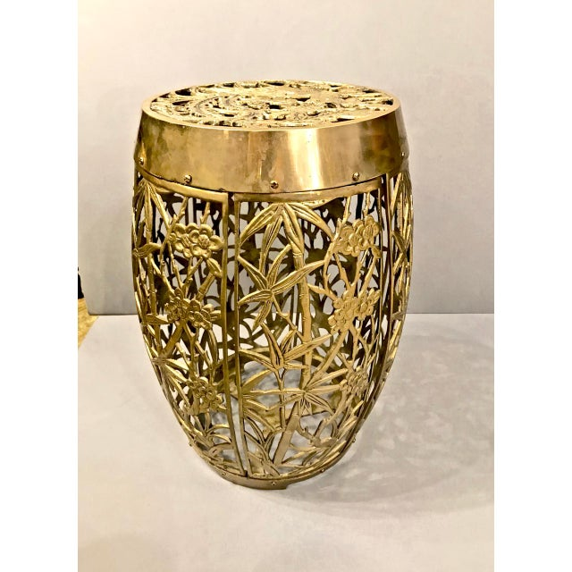 1960s Pair of Cast Chinoiserie Brass Mastercraft Attributed Garden Stools C. 1960 For Sale - Image 5 of 5