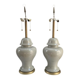 Monumental Marlboro Co. Celadon Ginger Jar Table Lamps - A Pair For Sale