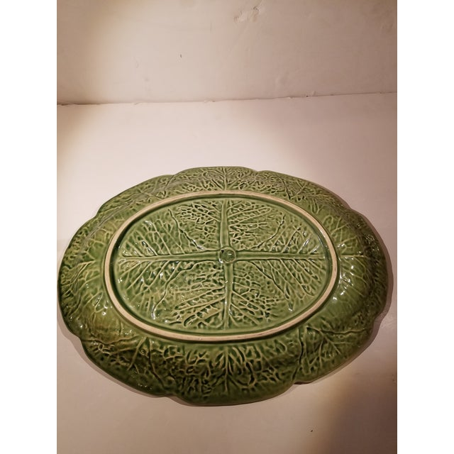 Boho Chic Secla Portugal Green Oval Cabbage Leaf Majolica Platter For Sale - Image 3 of 4