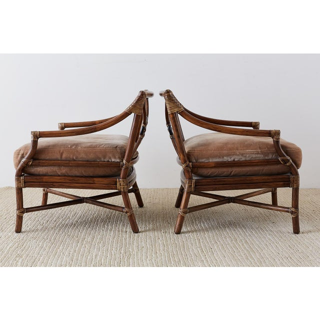 Late 20th Century Pair of McGuire Bamboo Rattan Target Lounge Chairs For Sale - Image 5 of 13