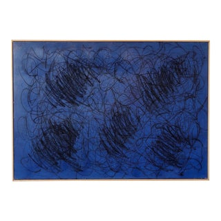 Midnight Blue Contemporary Painting After Cy Twombly For Sale
