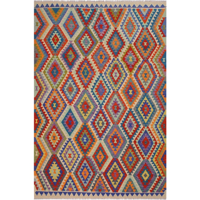 Contemporary Bohomian Style Kilim Lan Ivory/Blue Hand-Woven Wool Rug - 8'1 X 9'7 For Sale