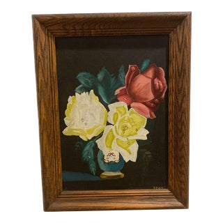 Vintage Oil Painting Vase With Flowers For Sale