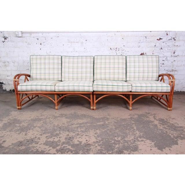 Heywood-Wakefield Heywood Wakefield Hollywood Regency Mid-Century Modern Rattan Sofa For Sale - Image 4 of 13