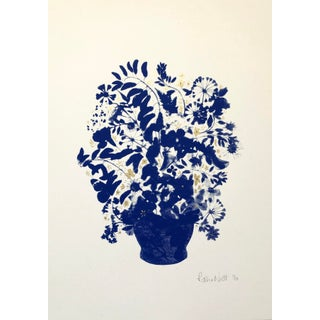 """Blue Vase"" Contemporary Botanical Mixed-Media Screenprint by Rosha Nutt For Sale"