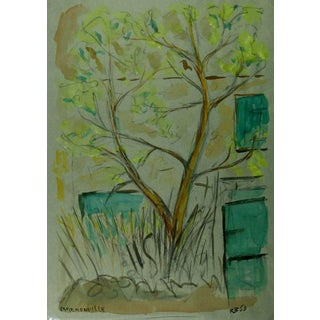 Rb, Watercolor Landscape - Lone Tree in Front of House For Sale
