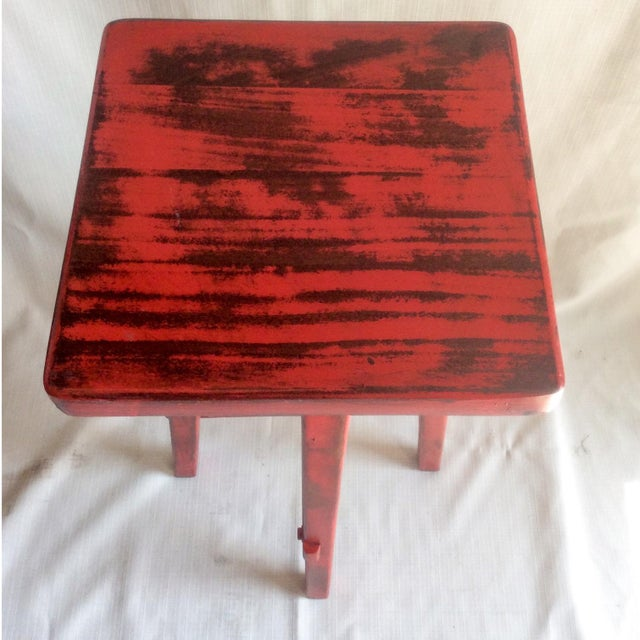Hand Made Distressed Red Square Bar Stool - Image 4 of 9