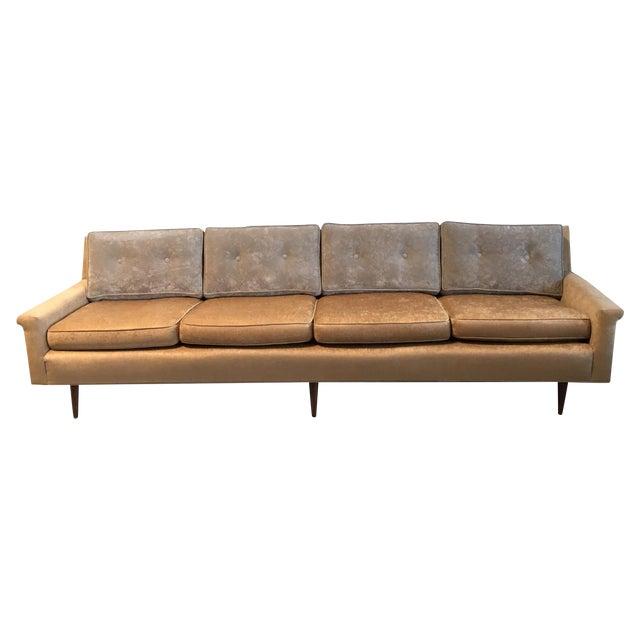 Champagne-Tone Mid-Century Modern Sofa - Image 1 of 7