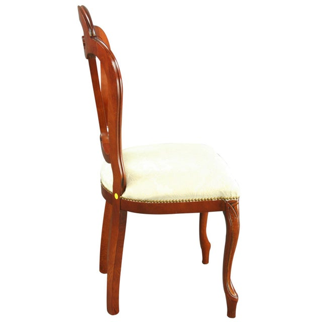 2000 - 2009 Italian Ivory Damask Dining Chair For Sale - Image 5 of 8