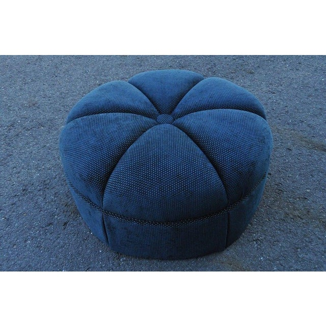Hollywood Regency Style Large Century Blue Tufted Ottoman Coffee Table Stool - Image 8 of 11